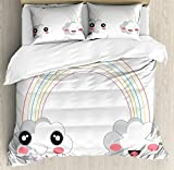Ambesonne Anime King Size Duvet Cover Set by, Two Clouds and a Rainbow Happy Face Expressions Japanese Design for Kids Nursery, Decorative 3 Piece Bedding Set with 2 Pillow Shams, Multicolor
