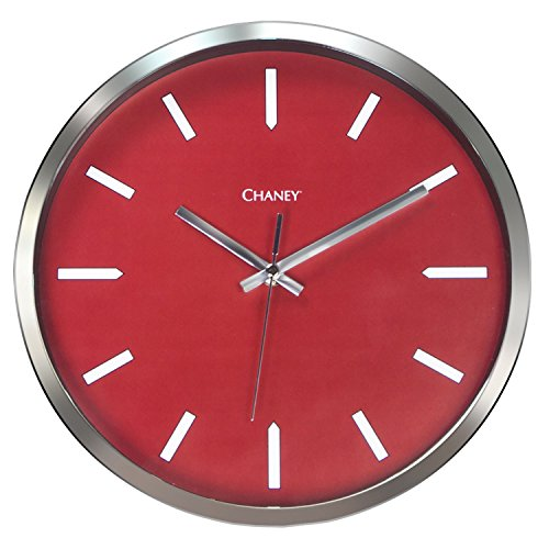 (Chaney Instruments Co 75174 Modern Chrome Wall Clock, 12