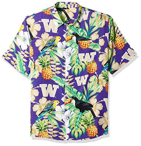NCAA Washington Huskies Foco Floral Button Up Shirt, Team Color, XL