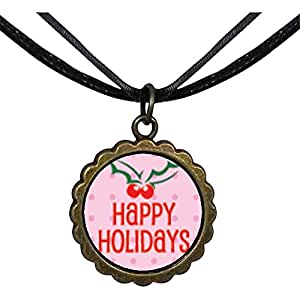 Chicforest Bronze Retro Style Happy Holidays Holly Round Flower Pendant