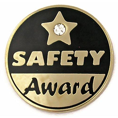 (PinMart Gold Plated Safety Award Pin w/Rhinstone Enamel Lapel Pin)