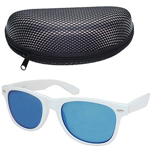 LotFancy Sunglasses for Women Men with Sun Glasses Case,54mm Lens,UV 400 Protection (White, Blue - White Mirrored Sunglasses