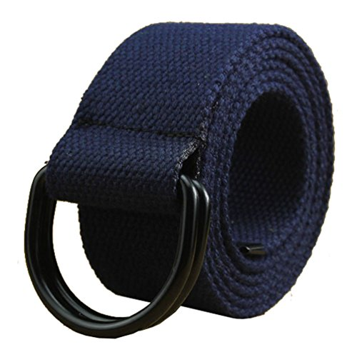 Canvas Belt, Military Web Belts for Men with Double D Ring Buckle Navy Blue ()