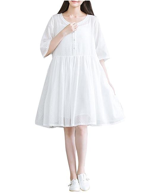 Vestidos Mujer Casual,Mujeres Vacaciones Damas Playa Botones Vestido De Fiesta Blanco S