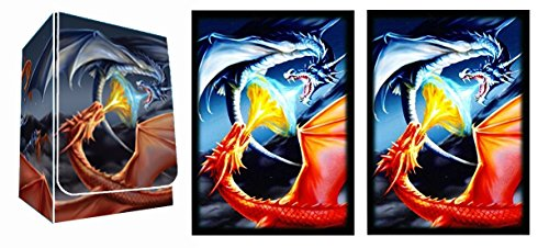 FIGHTING DRAGONS - Fire & Ice Dragon DECK BOX + 100 Matching GLOSS Finish Sleeves (fits Magic / MTG, Pokemon Cards) by MAX PRO