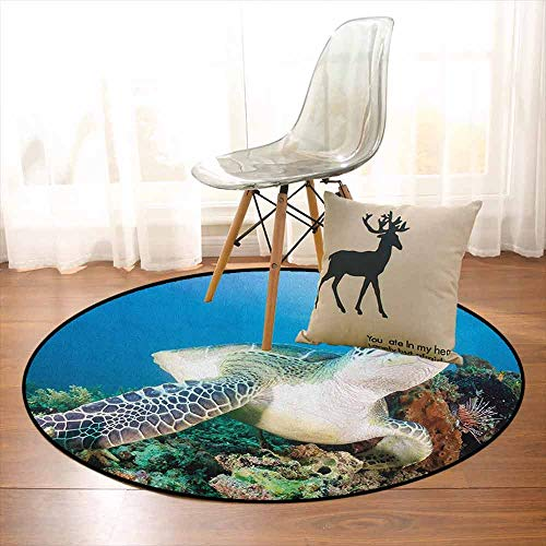 Turtle Multifunction Photo of Green Turtle and Lion Fish on Tropical Coral Reef Chelonia Snorkeling Non-Sliding Indoor Carpet D47.2 Inch Blue Green White