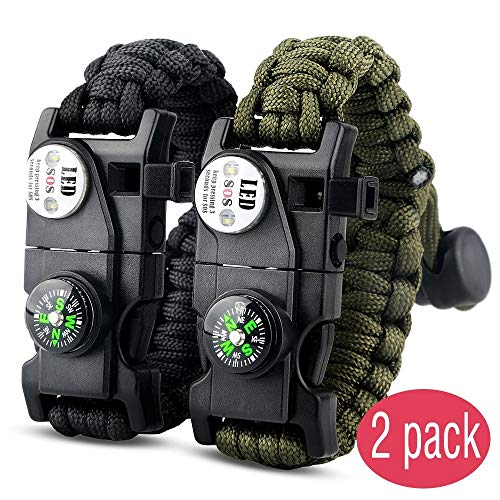 Led Buckle - IMPHOM Survival Bracelet Paracord Military Bracelet Buckle Tool Adjustable Rope Accessories Kit, Fire Starter, Knife, Compass, LED Light,Whistle,for Fishing Hiking Travel Camp(2pcs) Black+Green
