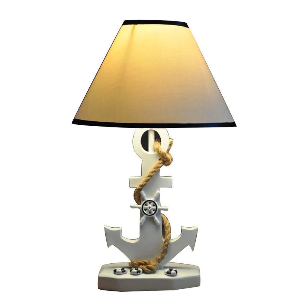 ●  Harz Tischlampe Kreative Ruder Anker Home Lampe Beleuchtung Warm Mediterranen Stil Klassische Nachttischlampe Wohnzimmer Schlafzimmer Studie Schreibtischlampe Desktop Dekoration Nachtlicht (farbe