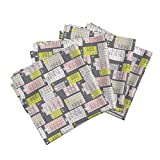 Roostery New York Brownstones Home Architecture Fire Escape Sex and The City Illustration Linen Cotton Dinner Napkins Bright Yellow and Pink Pastel by Littlesmilemakers Set of 4 Dinner Napkins