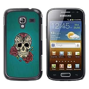 LECELL--Funda protectora / Cubierta / Piel For Samsung Galaxy Ace 2 I8160 Ace II X S7560M -- Rose Ink Tattoo Blue Rock Roll Metal --