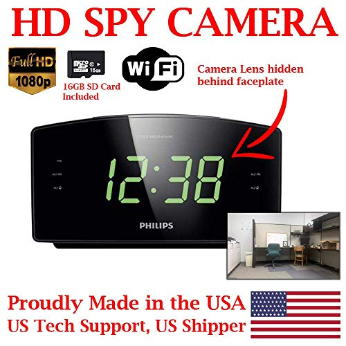 - ZEUS CCTV ZCH-PC1080 Full HD 1080P Home Alarm Clock Radio HD Spy Camera Covert Surveillance Hidden Nanny Camera Spy Gadget (WI-FI Model/w 16GB SD Card)