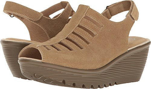 Skechers Women's Parallel-Trapezoid Wedge Sandal,dark natural,8.5 M US (Knee Gladiator Over The Sandals)