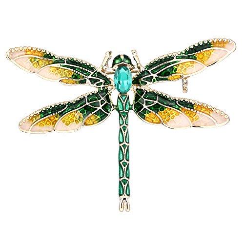 EVER FAITH Women's Austrian Crystal Yellow w/Blue Enamel Cute Animal Dragonfly Brooch (Animal Pins Dragonfly Jewelry)