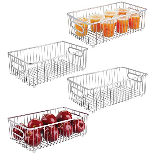 mDesign Metal Farmhouse Kitchen Pantry Food Storage Organizer Basket Bin - Wire Grid Design for Cabinet, Cupboard, Shelf, Countertop - Holds Potatoes, Onions, Fruit - Large, 4 Pack - Chrome