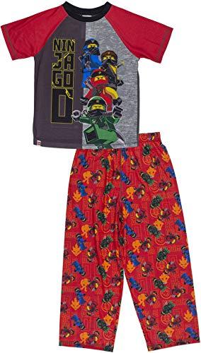 LEGO Ninjago Boys Pajama Set,2 Piece PJ Set Short Sleeve Long Pants,Ninjas,Boys Size 6/7 Red/Black -