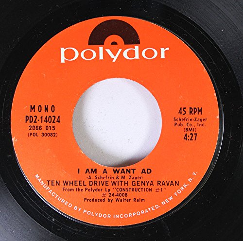TEN WHEEL DRIVE WITH GENYA RAVAN 45 RPM I AM A WANT AD / EYE OF THE NEEDLE ()