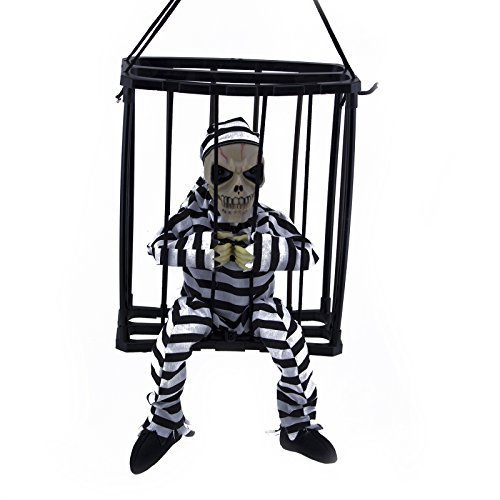 [BA Motion Sensor Hanging Caged Animated Jail Prisoner Skeleton Halloween Terror Decoration Flashing Light up Prop Toy] (Hanging Halloween Props)