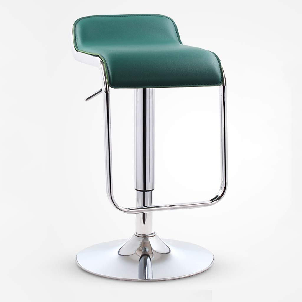 Dark Green Chassis 38.5cm Bar High Foot Stool Modern Simple Metal Leather Seat redate Chair Lift Cafe Counter Restaurant Leisure Household 0527A (color   Dark Green, Size   Chassis 38.5cm)