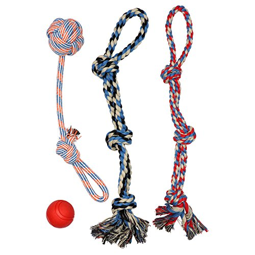 XL DOG ROPE TOYS FOR AGGRESSIVE CHEWERS - LARGE DOG BALL FOR LARGE AND MEDIUM DOGS - BENEFITS NON-PROFIT DOG RESCUE - LARGE FLOSS ROPE FOR DOGS DENTAL HEALTH - 100% COTTON ROPE TOY FOR LARGE DOGS