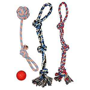 38038941ea39a XL DOG ROPE TOYS FOR AGGRESSIVE CHEWERS - LARGE DOG BALL FOR LARGE AND  MEDIUM DOGS - BENEFITS NON-PROFIT DOG RESCUE - LARGE FLOSS ROPE FOR DOGS  DENTAL ...