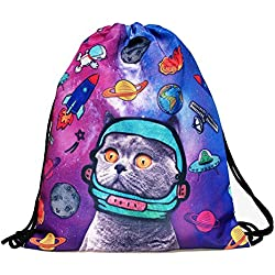 Print Sackpack Drawstring Backpack Casual Daypacks School Bags (Space Cat)