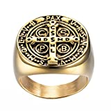 SINLEO Men's St Benedict Exorcism Ring Stainless Steel Catholic Cross Demon Protection Ghost Hunter Gold Size 8
