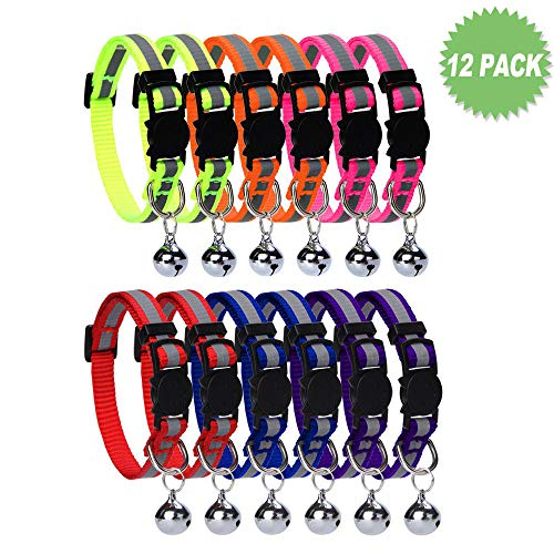 HOMIMP Cat Breakaway Collars Set 12 PCS with Bell Reflective Strap & Safety Buckle, Adjustable 8-12