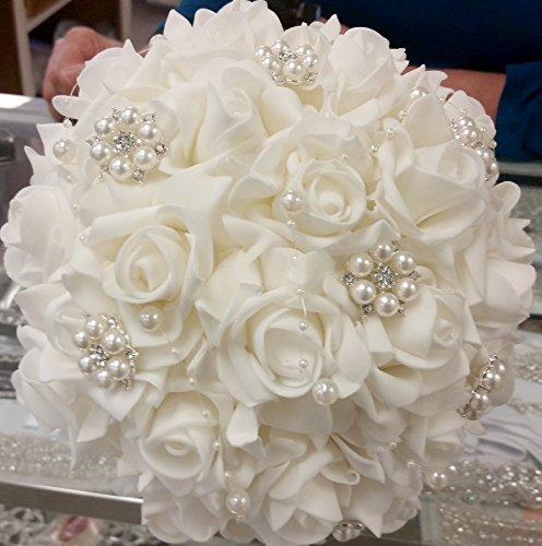Made to order Brooch Bouquet Wedding Bridal Flowers Real Touch Roses Bride Bridesmaids EMR-704 Contemporary Rose Bouquet