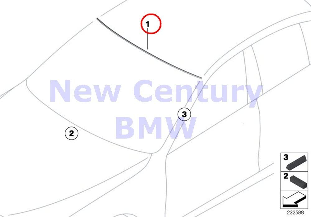 BMW Genuine Window Mounting Parts Top Windshield Cover 528i 528iX 535i 535iX 550i 550iX Hybrid 5 M5 528i 528iX 535d 535dX 535i 535iX 550i 550iX Hybrid 5