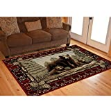 Rug Empire Rustic Lodge Grizzly Bear Cubs Area Rug, 91″ L x 26″ H For Sale
