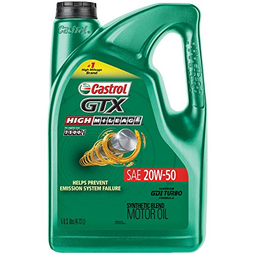 Castrol 03112 GTX High Mileage 20W-50 Synthetic Blend Motor Oil, 5 Quart (Best Motor Oil For High Mileage)