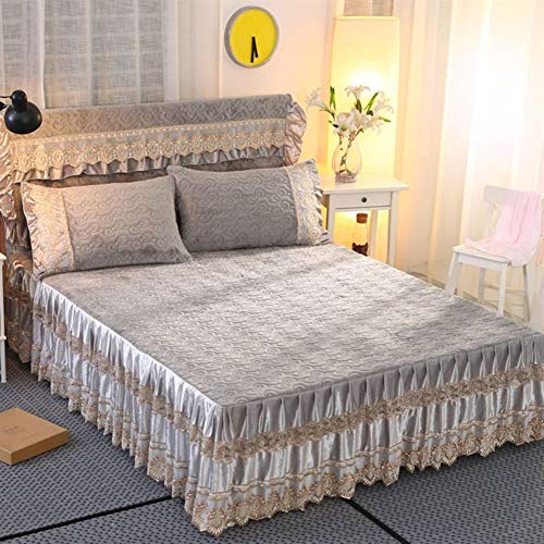 KIM DECO Polyester Silk Soft Fitted Bed Sheets with Skirt Anti-Pilling Lace Embroidery Bed Skirt,Pleated Bedspreads Dust Ruffles Nonslip Mattress Cover for Summer-A 180x220cm(71x87inch)