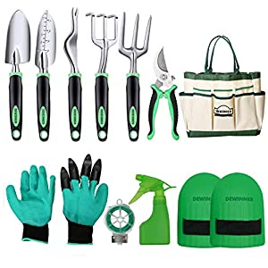 Garden Tool Set, DEWINNER Hand Tool Gift Kit, Out Door Gardening Transplanting Small Fork  for Gardener, Trowel,Transplanter, Cultivator, Weedier Weeding,with Heavy Duty Hold Bag for Storage
