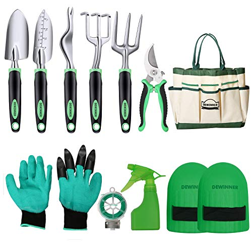 DEWINNER Garden Tool Set, Hand Tool Gift Kit, Out Door Gardening Transplanting Small Fork for Gardener, Trowel,Transplanter, Cultivator, Weedier Weeding,with Heavy Duty Hold Bag for Storage