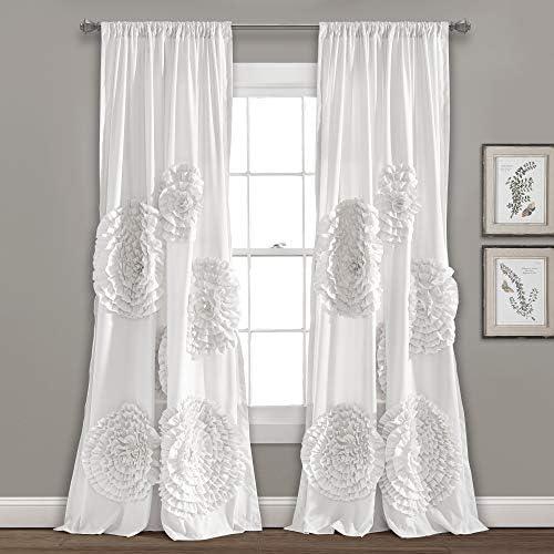Lush Decor, White Serena Drape Window Panel for Living, Dining Room, Bedroom Single Curtain , 95 x 54 L