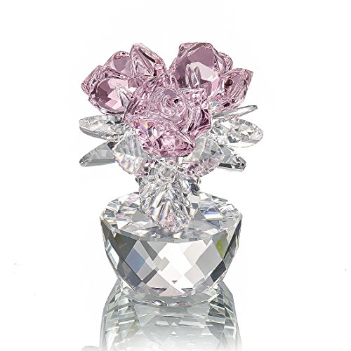 (H&D Pink Crystal Rose Bouquet Flowers Figurines Ornament with Gift Box)