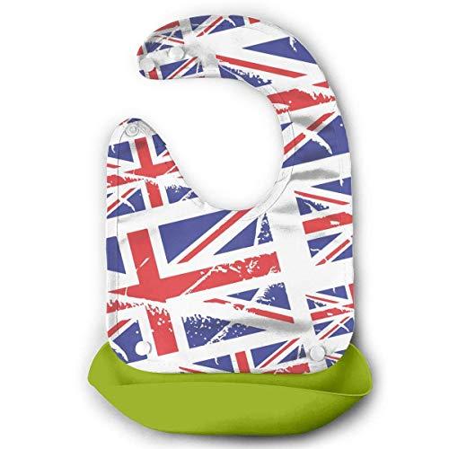 (UK British Flag Distressed Baby Bib Teething Toddler Bibs Baby Feeding Bib with Removable Pocket Snap Adjustable Pink)