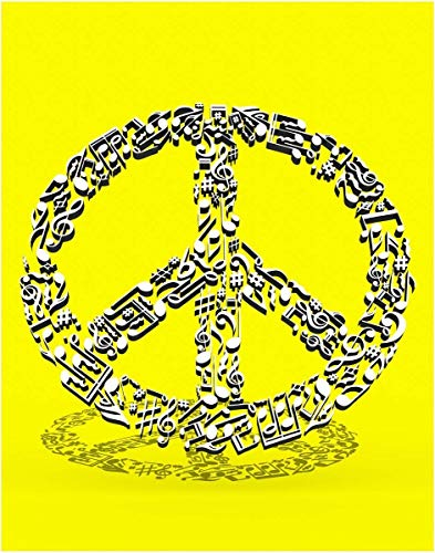 Yellow 3D Music Note Fine Art Peace Symbol Print - 11x14 Unframed Wall Art Print - Gift for those Passionate about Music. Looks great in Dorm, Bedroom, Game Room or Living Room. Poster Decor Under $20