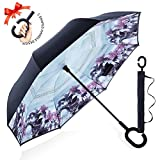 : ZOMAKE Double Layer Inverted Umbrella Cars Reverse Umbrella, UV Protection Windproof Large Straight Umbrella for Car Rain Outdoor With C-Shaped Handle(Bridge)