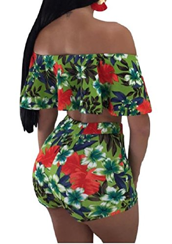 c41d11d065 Amazon.com  Mfasica Womens Printed Ruffled Two-Piece Wrap Chest Beachwear Shorts  Romper Playsuit  Clothing