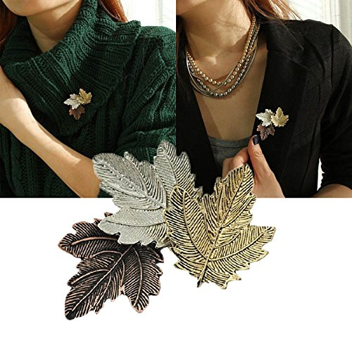 1pc Broche Mujer Vintage Pin Maple Leaf Brooch Gold Silver Plated Brooches Pins Exquisite Collar For Women Dance Party Accessories Silver Maple Leaf Pin