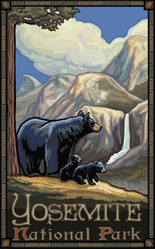 "Northwest Art Mall 11"" x 17"" Poster Yosemite Black Bears & Cub by Paul A. Lanquist"