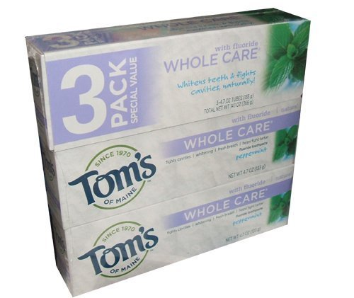 Tom's of Maine Whole Care Toothpaste With Flouride Peppermint Flavor 4.7 Ounce Tube (Pack of 6)