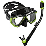 Cressi Panoramic Wide View 4 Panel Mask Dry Snorkel Set, Lime Green / Black Silicone