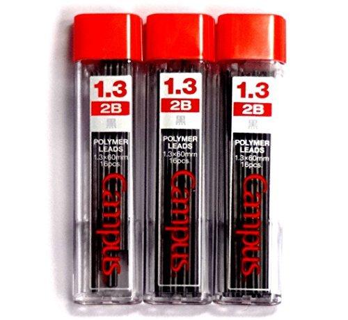 Kokuyo Campus Mechanical Pencil Lead, 1.3mm, 2B (PSR-C2B13N), 16 Leads ×3 Pack/total 48 Leads (Japan Import) [Komainu-Dou Original Package]