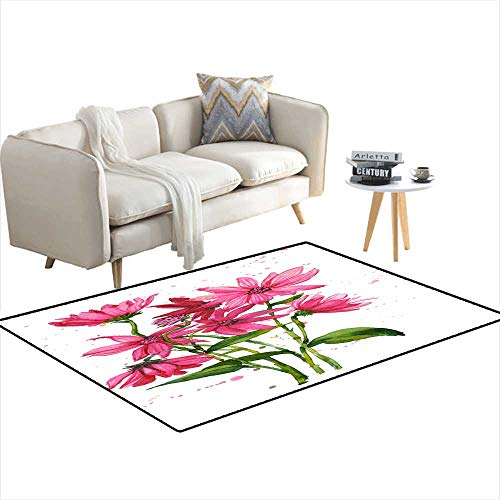 Extra Large Area Rug Freehanpaintepink Flowers Bouquet 4'x9'