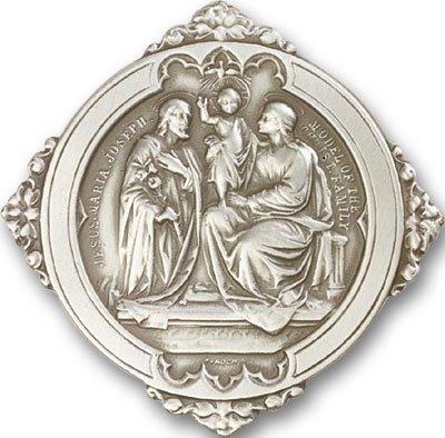 Antique Silver Tone Holy Family Visor Clip