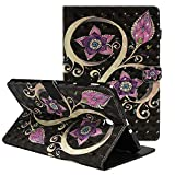 Folio Case for Samsung Galaxy Tab E 9.6 - ZAOX Purple Flower Leather Magnetic Flip with Card Slot & Stand Protective Shell Wallet Case Slim Fit Shockproof Cover for Galaxy Tab E 9.6 Inch SM-T560 Tablet