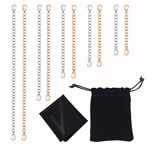 Sunmns Stainless Steel Necklace Bracelet Extender Chain Set, 10 Pieces (Golden, (Choker Clasp)