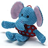 Greendo EETOYS Puppy Durable Squeaky Plush Toy with Chew Rubber Ball Body for Small Dogs (Elephant)